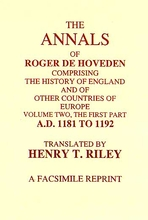 The Annals of Roger De Hoveden Volume 2: Part 1: ( 1181 - 1192)